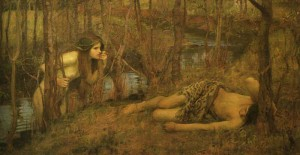 Waterhouse ondine russalka Une_na_ade_ou_Hylas_avec_une_nymphe_par_John_William_Waterhouse_1893