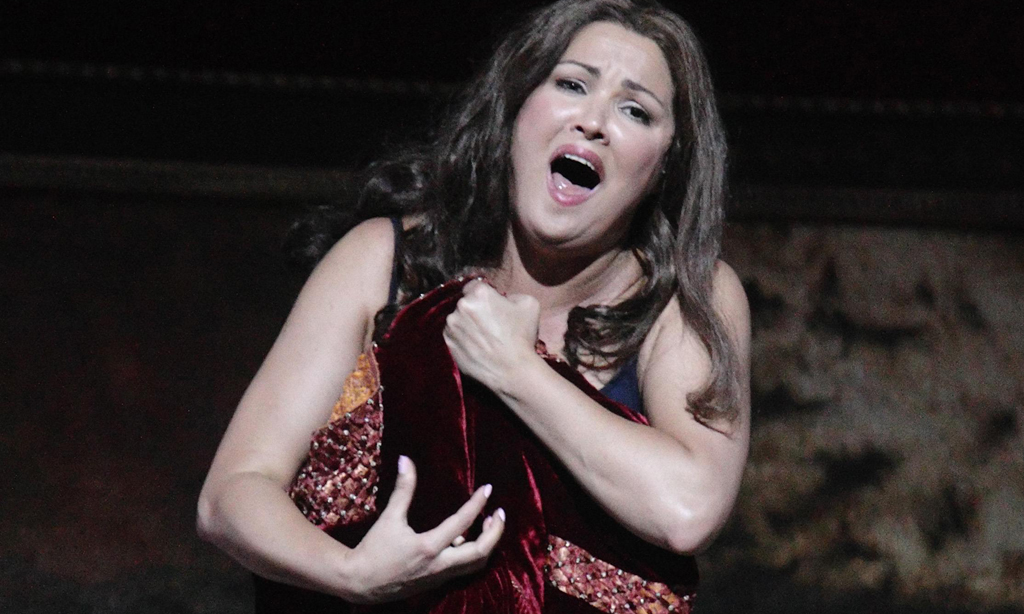 "Netrebko performs as Leonora during a dress rehearsal of Giuseppe Verdi's ""Il trovatore"" in Salzburg"