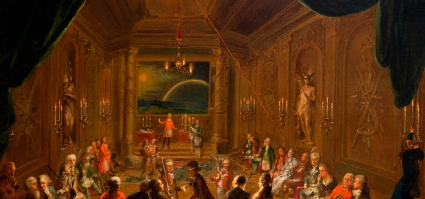 Initiation Ceremony in a Viennese Masonic Lodge During the Reign of Joseph II, with Mozart Seated on the Extreme Left by Ignaz Unterberger