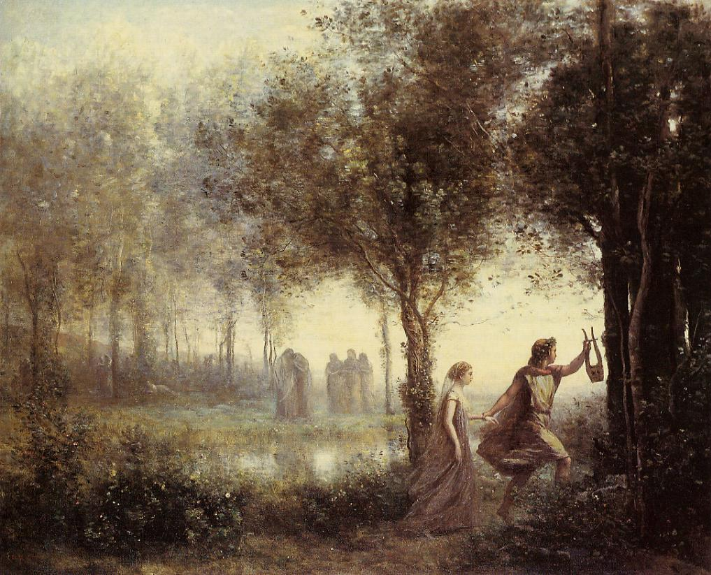Orpheus leading Eurydice from the Underworld by Jean-Baptiste-Camille Corot, 1861.via visionsofwhimsy