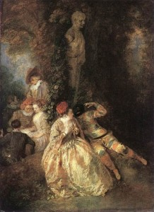 watteau peinture_Harlequin_and_Columbine_f