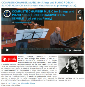 SHOSTAKOVICH-CHOSTAKOVITCH-ensmeble-pinto-ribeiro-complete-chamber-music-for-strings-and-piano-video-par-classiquenews-PARATY-2-cd-set-box