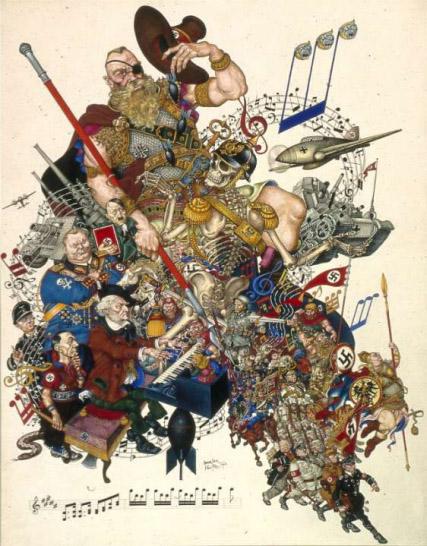 WAGNER Szyk caricature 1942 wagner rythme la marche nazie de her hitler arthur-szyk-and-world-war-ii-22-728