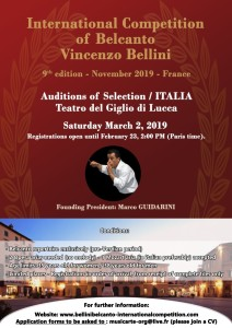BELLINI competition  2019 ITALY auditions auditions a LUCCA classiquenews_Affiche  Auditions Lucca  anglais