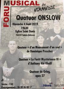 PRESCHEZ dominique quatuor ONSLOW concert 4 aout 2019 mouvement de quatuor concert annonce critique classiquenews